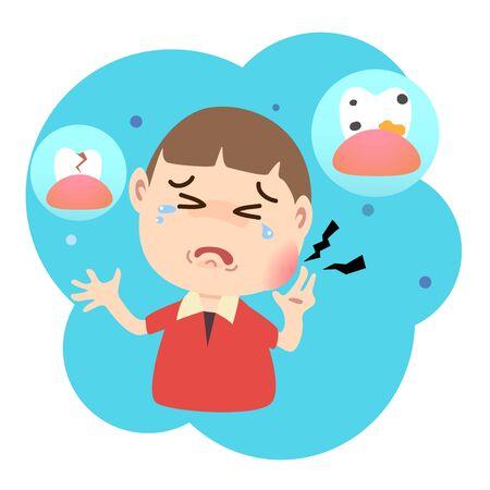 Illustration pour A boy crying because of a toothache. - image libre de droit