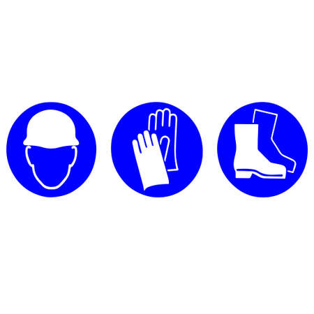 Illustration pour Personal protective equipment: helmet, gloves, boots symbol - image libre de droit