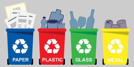 Illustration pour Four selective waste bins for  paper, plastic, glass, metal - image libre de droit