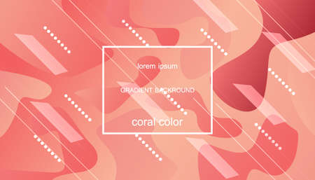 Illustration for Coral trendy color of 2019. Gradient geometric dynamic abstract background. Modern minimal texture for layout, banner, poster, flyer, card, web design. Vector eps10. - Royalty Free Image