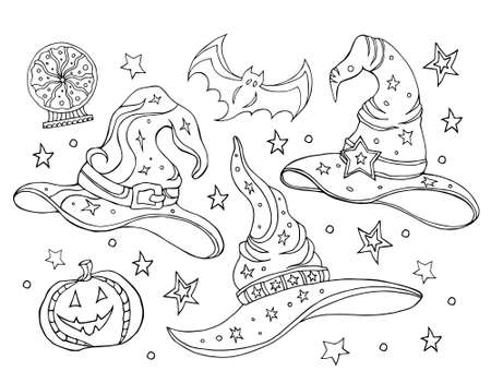 Ilustración de Set with magic hats. Black and white vector illustration of a witch hats, broomstick, crystal ball. Halloween set, coloring book. Hand drawing. - Imagen libre de derechos
