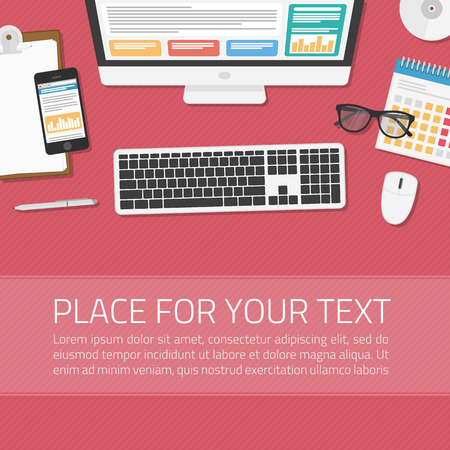 Illustration pour Office workplace top view. Illustration of modern business office or workspace in flat style. Top view of desk background. Template infographic or advertising banner concept. - image libre de droit