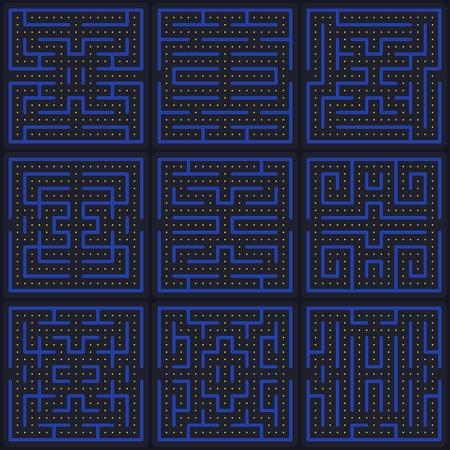 Illustration pour Game concept maze. Modern arcade video game interface design elements. Game world. Computer or mobile game screen. - image libre de droit
