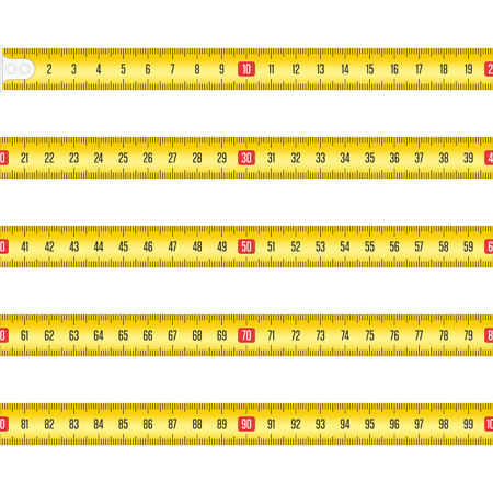 Illustration for Yellow Measuring tape for tool roulette or ruler. Tape measure template in centimeters. Tapes meter set isolated on white background. Vector illustration in realistic style. EPS 10. - Royalty Free Image