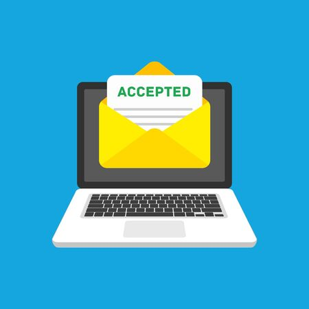 Illustration for Accepted email in envelope. - Royalty Free Image