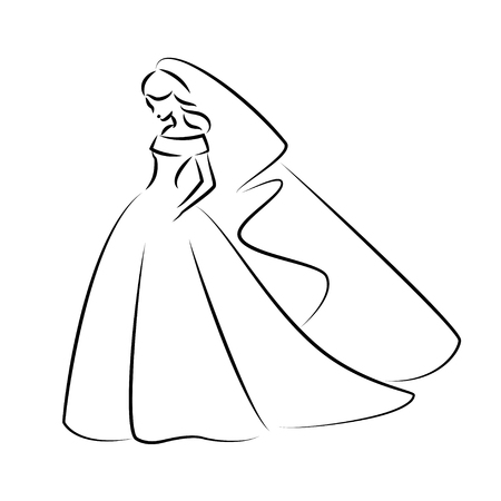 Illustration pour Abstract outline illustration of a young elegant bride in wedding dress with veil over her head. Sketch illustration or  for your design - image libre de droit