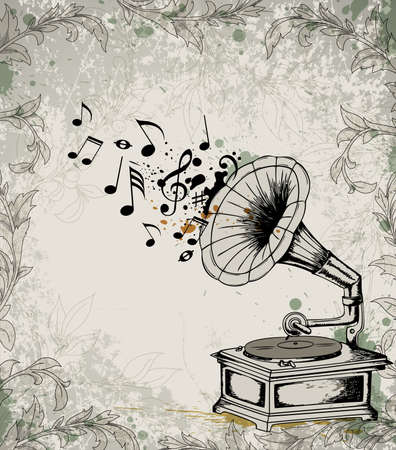 Retro music background with gramophone and notes.