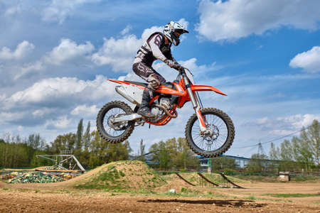 Photo for Motocross training in Moscow at the Technical Sports Stadium 2019 - Royalty Free Image
