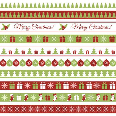 Illustration pour Vector seamless horizontal borders for Christmas design - image libre de droit