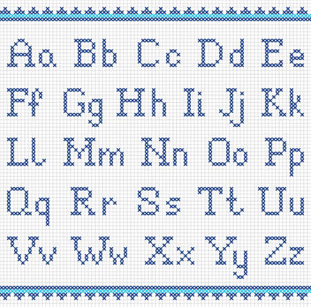 Vector set of cross-stitched letters. Embroidering alphabet.