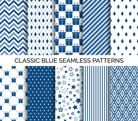Illustration for Set of classic blue seamless pattern. Vector abstract backgrounds. Chevron, polka dots, striped. For wallpaper design, wrapping paper, fabric print - Royalty Free Image
