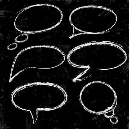 Illustration pour Sketch of speech bubbles chalked on black - image libre de droit