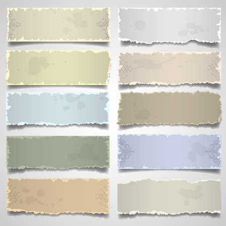 Collection of old note paper in pastel colors. Vector eps10