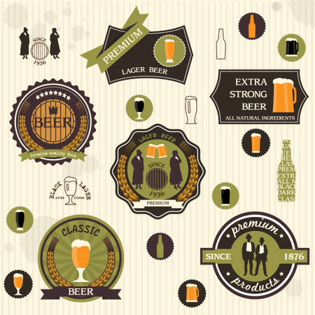 Beer badges and labels in retro style design set
