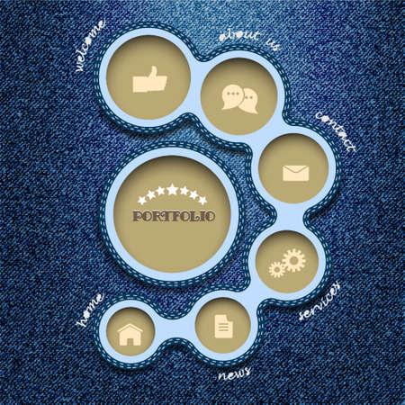 Web design template. Denim style