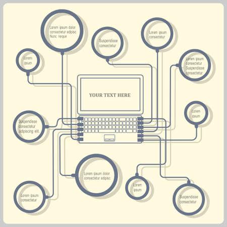 Illustration pour  Concept laptop. Vector design template - image libre de droit