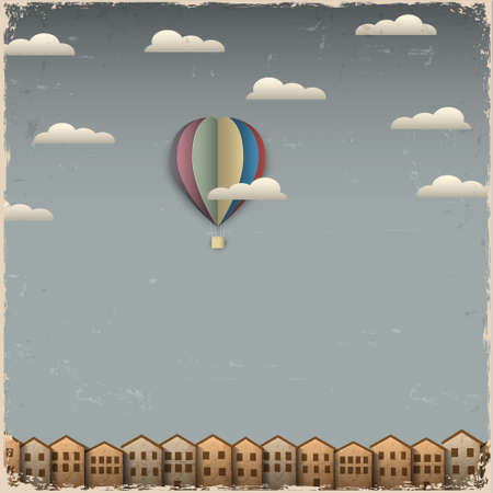 Retro hot air balloon and town from paper  Creative vector eps 10
