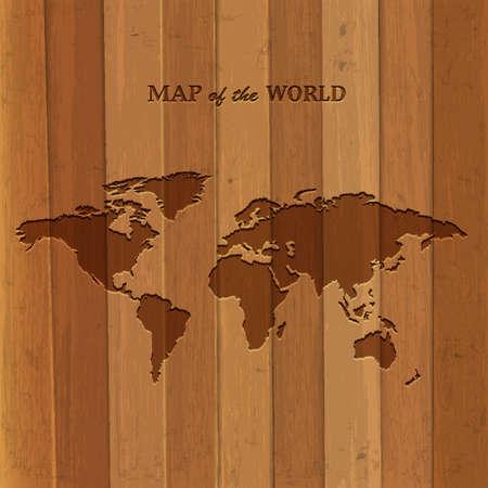 Wooden World map  Vector illustration