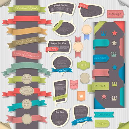 Ilustración de Big set retro design elements and speech bubbles.  collection  - Imagen libre de derechos