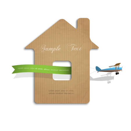 House cut out of cardboard with airplane. Concept illustration