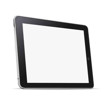 Illustration pour Black abstract tablet computer (pc) isolated on white. Vector illustration - image libre de droit