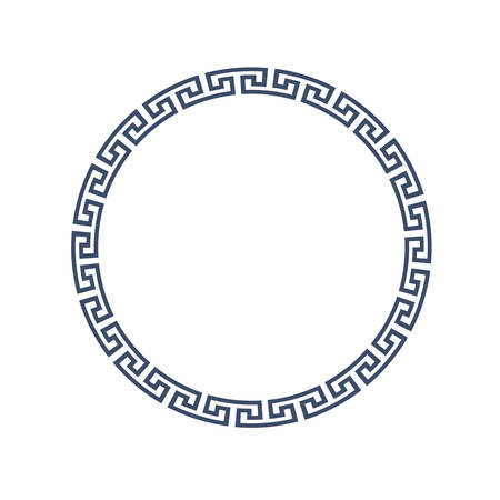 Decorative round frame for design in Greek style.