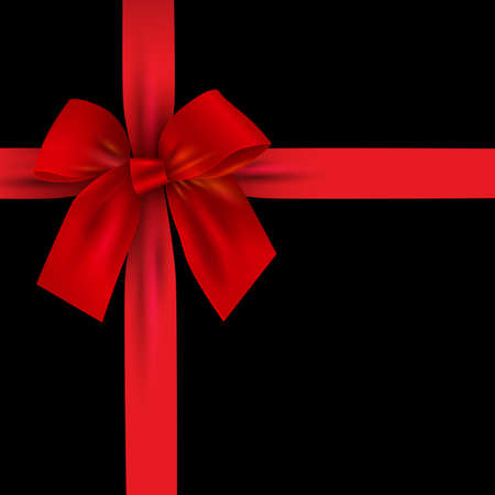 Illustration for Realistic Red bow with ribbon isolated on black. Design element for decoration gifts, greetings, holidays. Vector illustration - Royalty Free Image