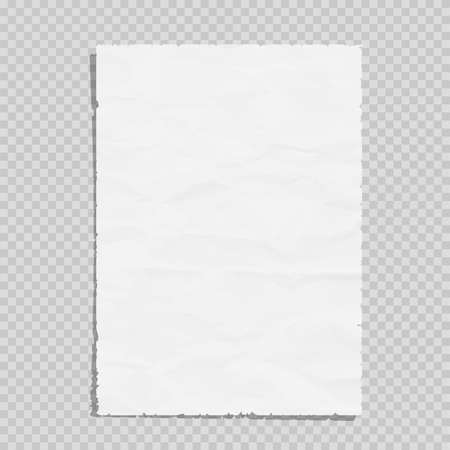 Illustration for Empty white paper sheet crumpled. Realistic blank page on transparent illustration - Royalty Free Image