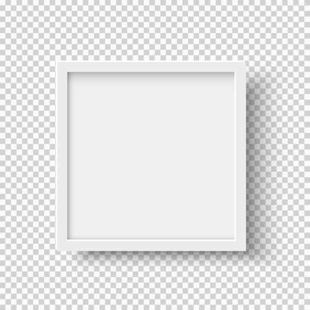 Illustration pour White realistic square empty picture frame on transparent background. Blank white picture frame mockup template isolated on neutral background. Vector illustration - image libre de droit