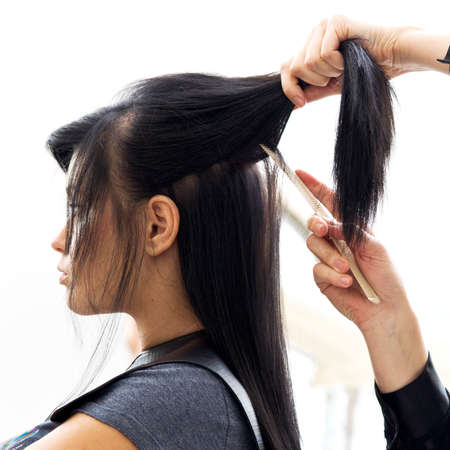 Woman in hairdressing salon do hair style