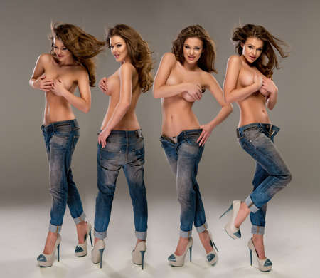 Young, fit and sexy woman only in jeans. Topless