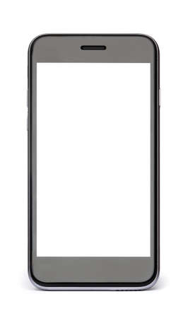 Photo pour Black phone with white blank screen isolated on white. - image libre de droit