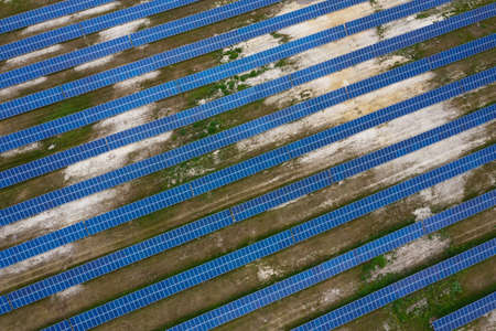 Photo pour Solar battery station. View from drone solar panels in the field. Alternative types of energy. - image libre de droit