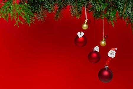 Photo pour Christmas decorations on a red background. Holiday season concept - image libre de droit