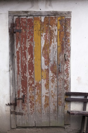 A weathered blue door Wolka Krowicka, Poland, Europe
