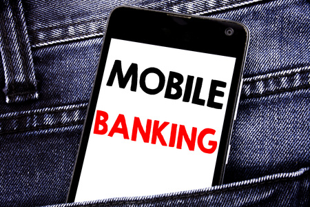 Writing text showing Mobile Banking. Business concept for Internet Banking e-bank written mobile cell phone with space in the back pants trousers pocket