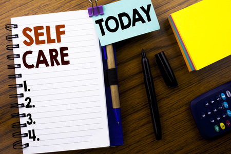 Photo for Word, writing Self Care. Business concept for Taking caring for own Health written on book note paper on wooden background. With attached today sign. Office top view. - Royalty Free Image