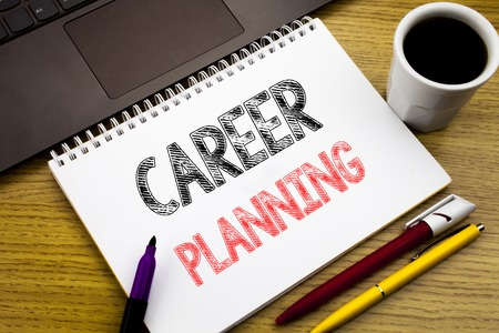 Writing text showing Career Planning. Business concept for Job Goal Success written on notebook book on wooden background in the Office with laptop