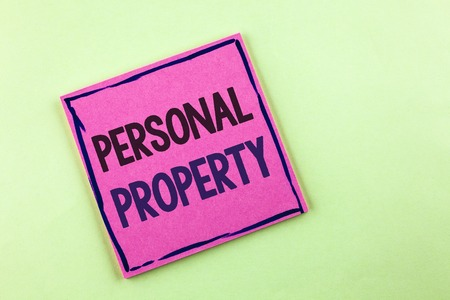 Text sign showing Personal Property. Conceptual photo Belongings possessions assets private individual owner written Pink Sticky Note Paper the plain background.