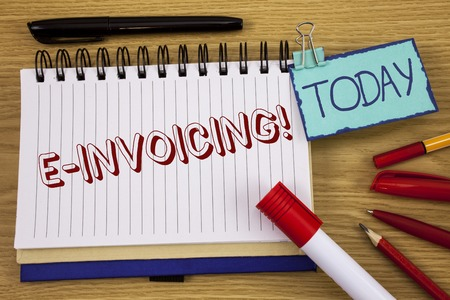 Conceptual hand writing showing E-Invoicing Motivational Call. Business photo text Company encourages use of digital billing written Noteoad wooden background Today Pen Pencil next to it
