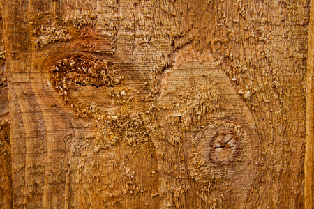 Closeup macro of wooden scratched background. Top view of brown boards. Brown painted wooden background. Dark old wooden background painted in brown. の写真素材