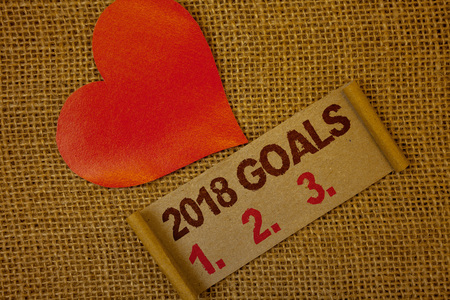 Word writing text 2018 Goals 1. 2. 3.. Business concept for Resolution Organize Beginnings Future Plans Lavender pink page with red border and content pink paper heart lovely trice
