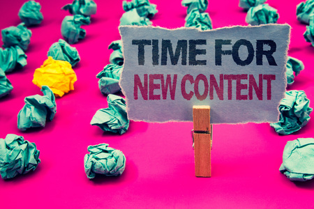 Photo pour Writing note showing  Time For New Content. Business photo showcasing Copyright Publication Update Concept Publishing Emerald paper balls yellow lump rosy floor paperclip retain grey page - image libre de droit