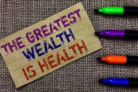 Handwriting text writing The Greatest Wealth Is Health