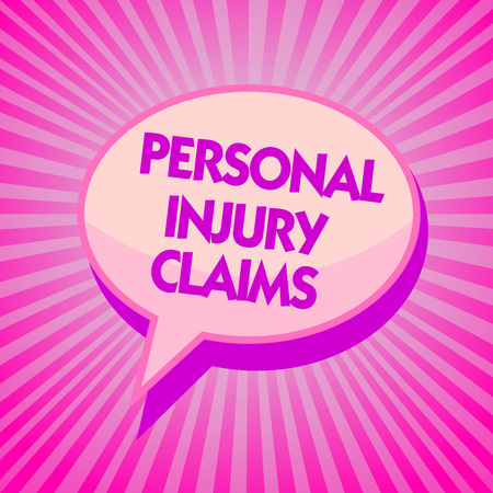 Text sign showing Personal Injury Claims. Conceptual photo being hurt or injured inside work environment Purple speech bubble message reminder rays shadow important intention