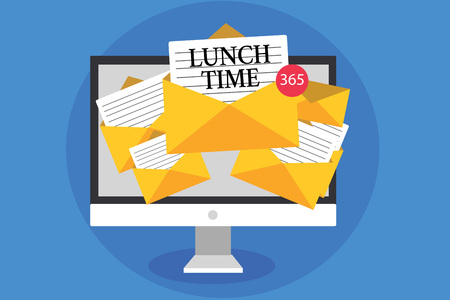 Text sign showing Lunch Time. Conceptual photo Meal in the middle of the day after breakfast and before dinner Computer receiving emails important messages envelopes with papers virtual