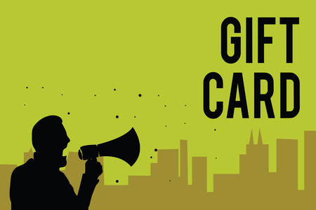Man with megaphone and Gift Card text on background.