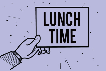 Handwriting text writing Lunch Time. Concept meaning Meal in the middle of the day after breakfast and before dinner Man hand holding paper communicating information dotted purple background
