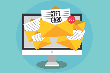 Computer receiving emails of gift cards online