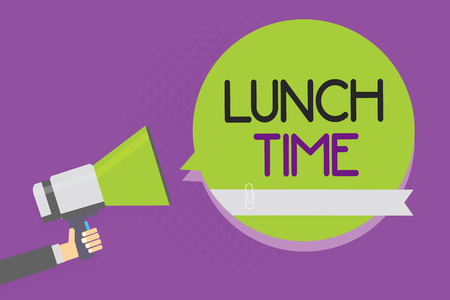 Text sign showing Lunch Time. Conceptual photo Meal in the middle of the day after breakfast and before dinner Man holding megaphone loudspeaker green speech bubble purple background